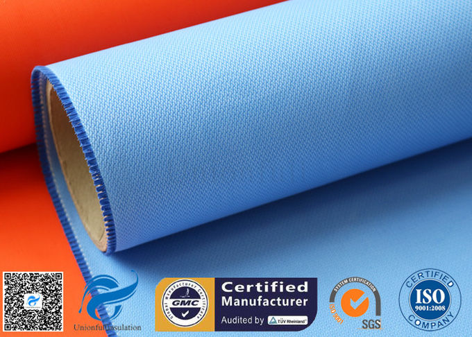 Blue 0.5mm Rubber Silicone Coated Fiberglass Fabric For Fire Resistant Blanket