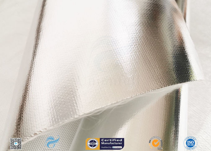 Light / Heat Reflective 300℃ Aluminium Foil Fiberglass Fabric For Pipe Insulation