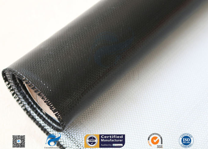0.45mm Black Silicone Coated Thermal Insulation Fiberglass Fabric 8H Satin Weave