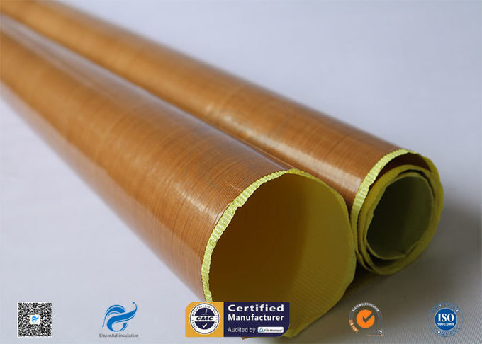 0.13mm Self - Adhesive Tape Brown PTFE Coated Fiberglass Fabric