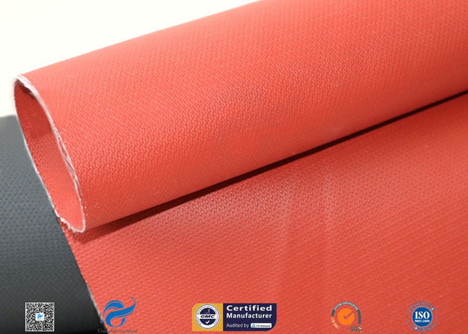 Red 0.45mm 580g Silicone Coated Fiberglass Fabric For Thermal Insulation Jacket