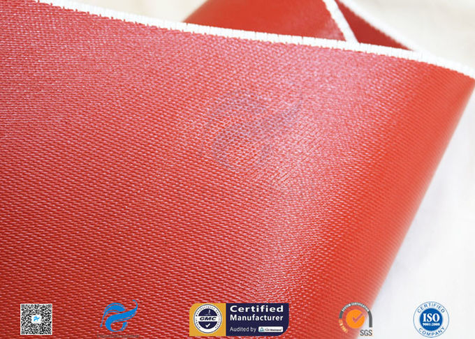 1mm Bright Red Silicone Coated Fiberglass Cloth For Thermal Insulation Jacket