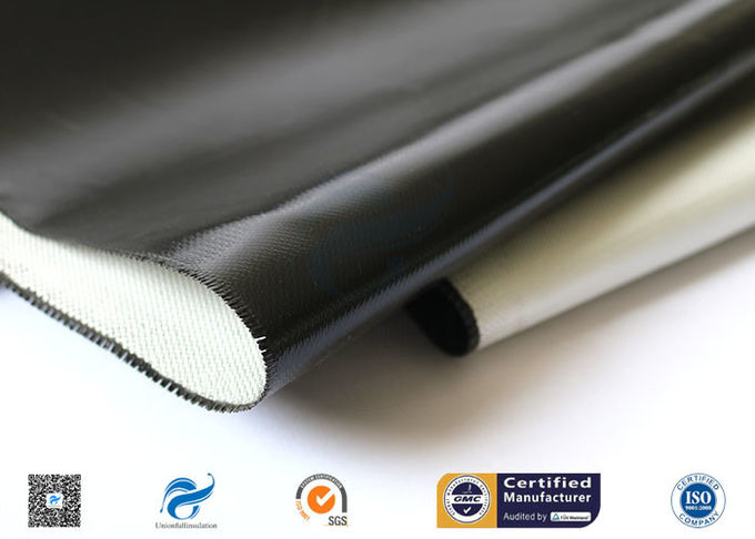 Custom Black Silicone Coated Fiberglass Fabric Heat Protection High Strength
