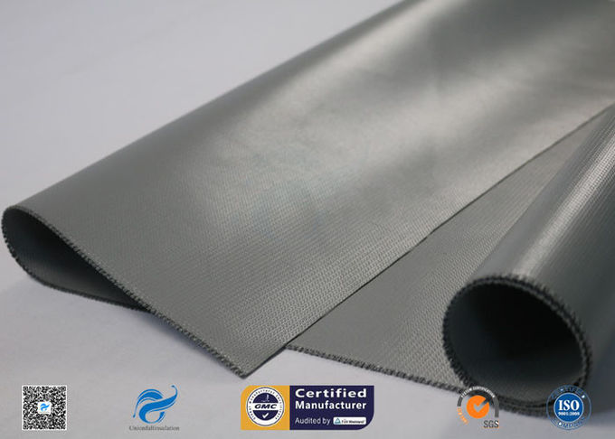 Silver Grey Liquid Silicone Coated Fiberglass Fabric E - Glass 0.45mm