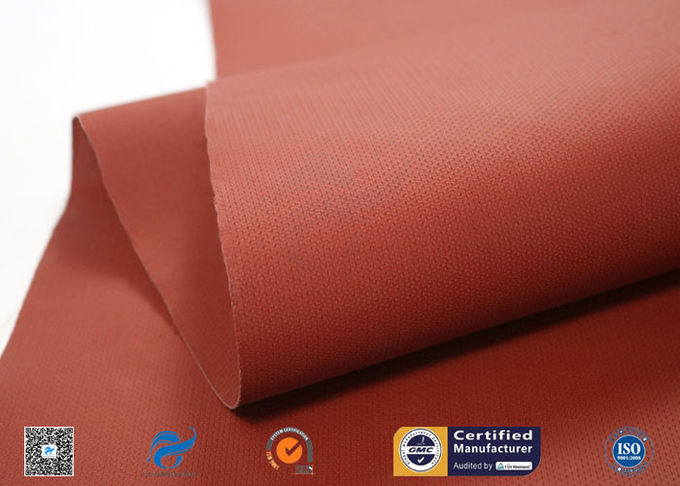 260℃ Silicone Coated Fiberglass Fabric / Red Non Toxic Fire Barrier Fabric